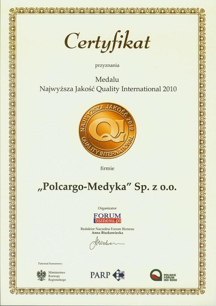 Certyfikat Najwyższa Jakość 2010